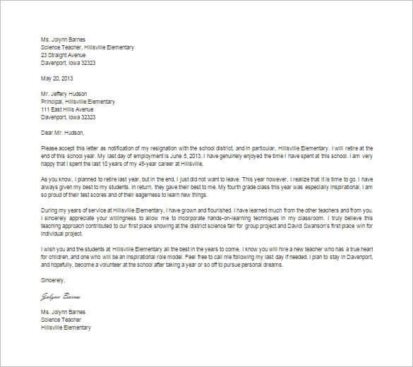 Resignation Letter Format 641