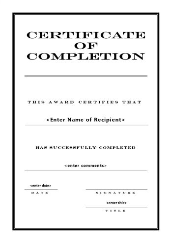 certificate format 841