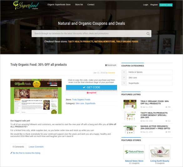 coupon website template 7941
