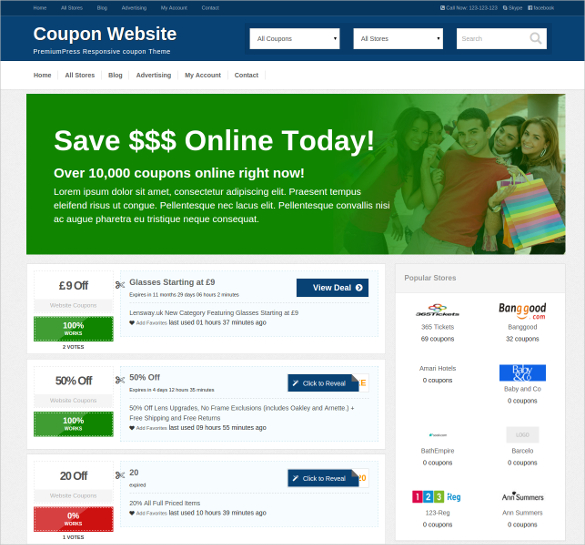 coupon website template 941