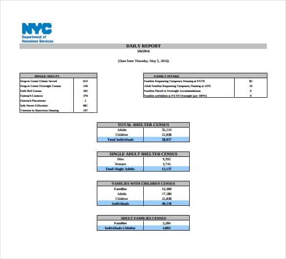 daily report template 841