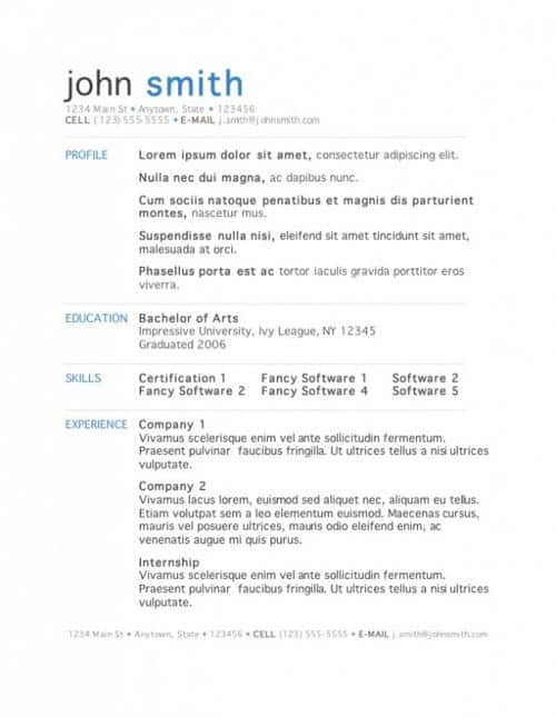 resume templates for mac 41
