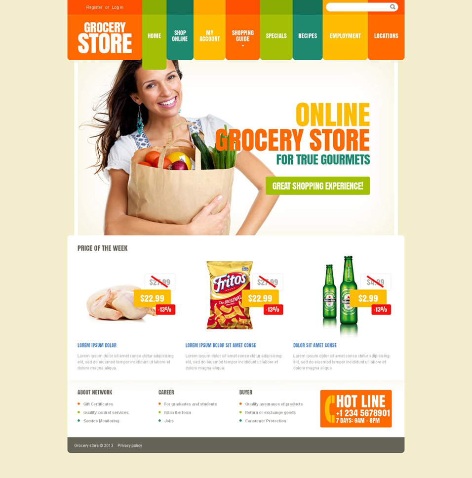 Online grocery shopping website templates word excel pdf for Online store design