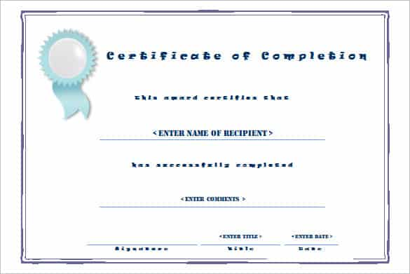 certificaet of completion 641