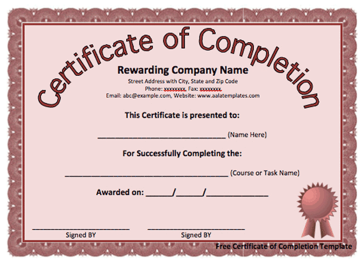 certificaet of completion 7941