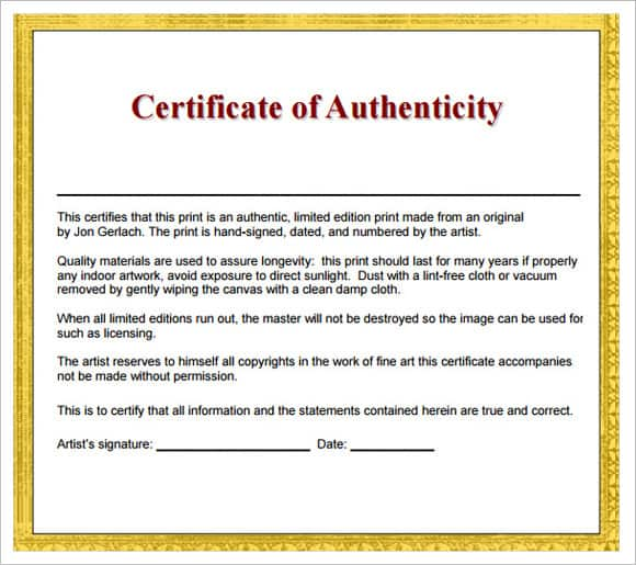 Certificate Of Authenticity Templates - Word Excel PDF Formats