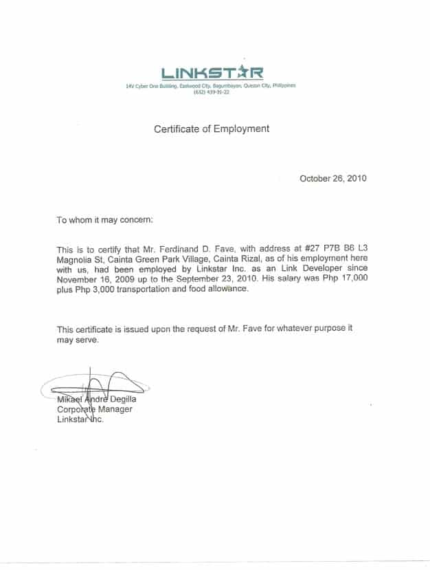certificate of employment 31