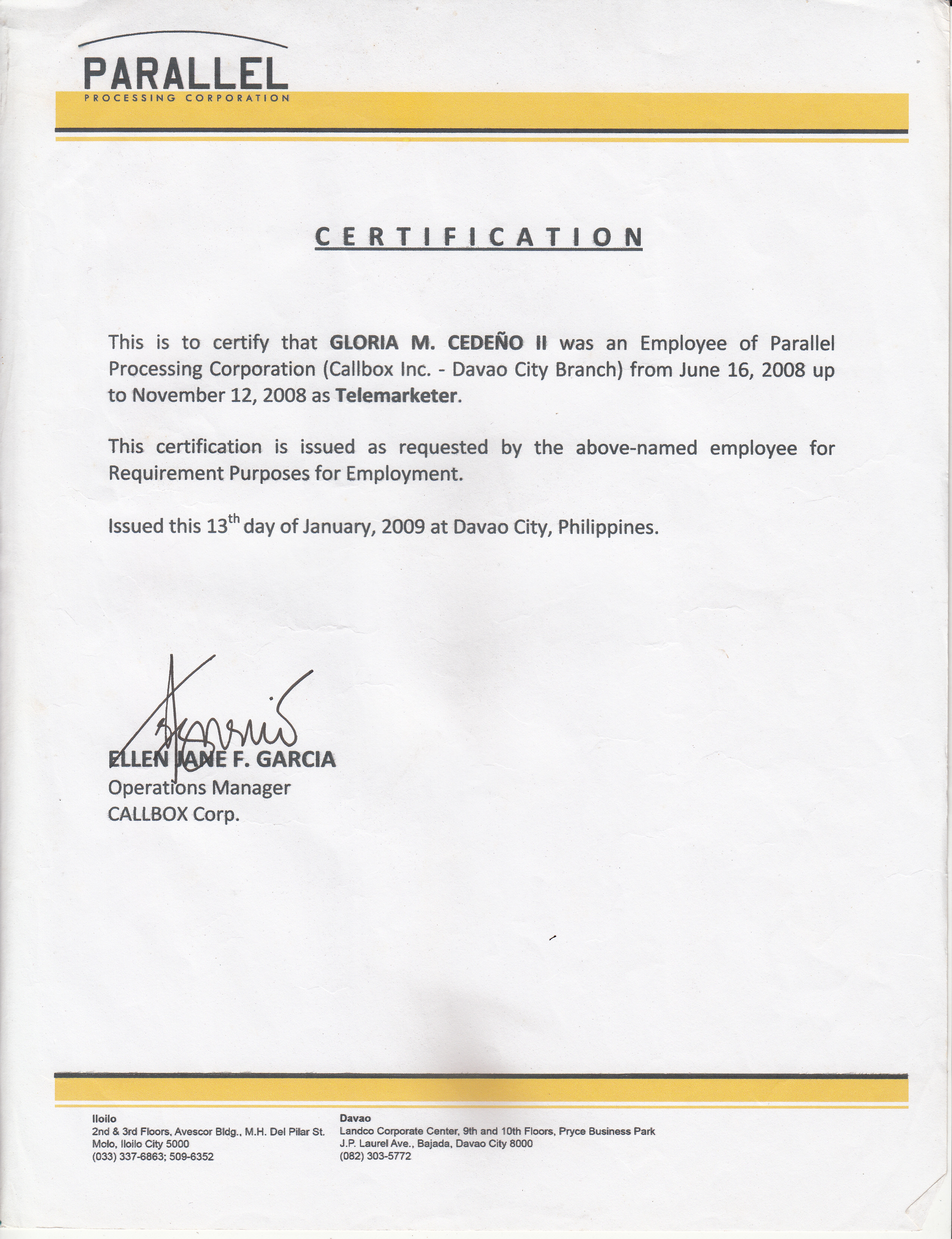 certificate of employment 49461