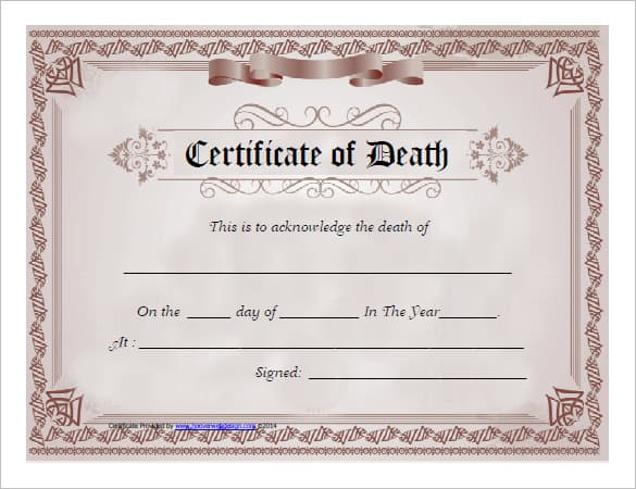 7 Free Death Certificate Templates Formats Designs