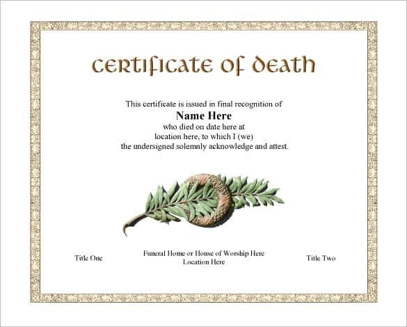 7 free death certificate templates