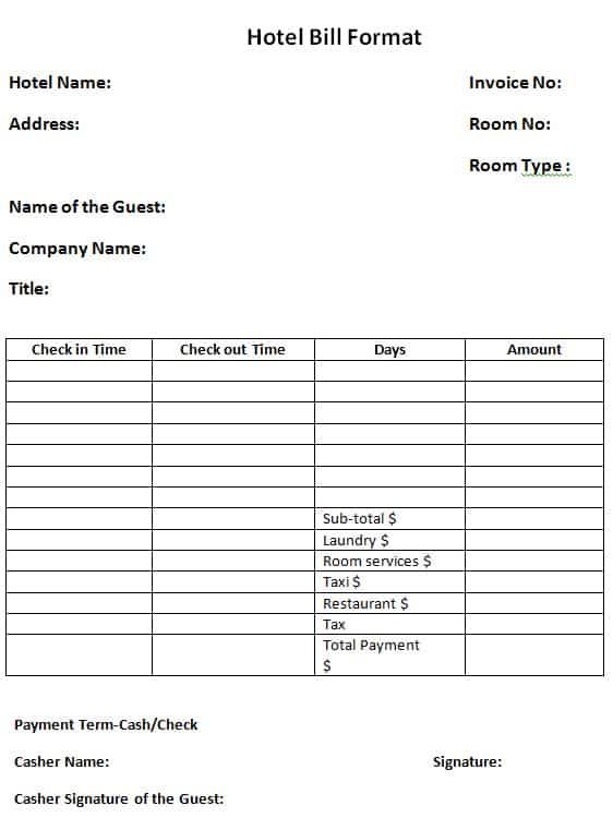Hotel Bill Formats In Word Word Excel Pdf Formats
