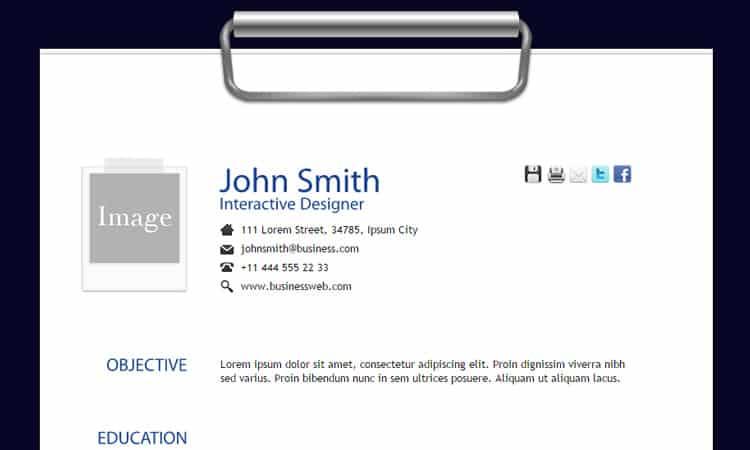 html resume template 494