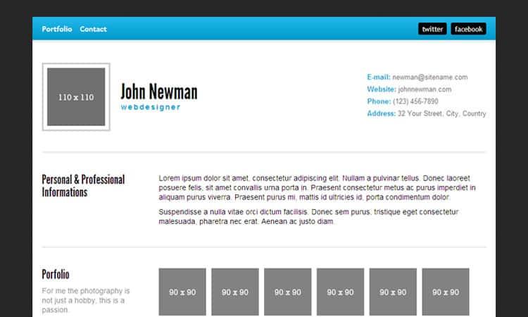html resume template 7946