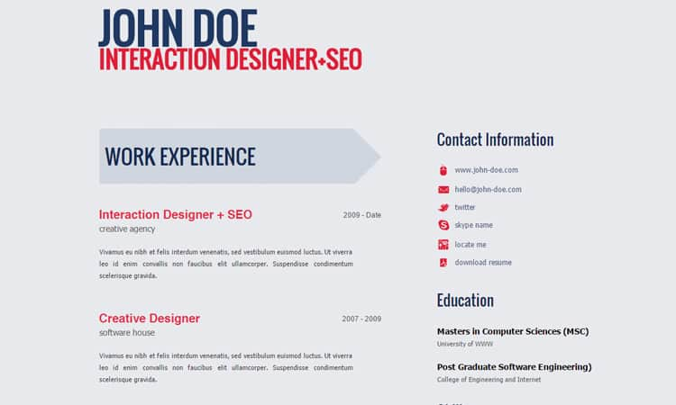 html resume template 96