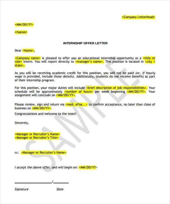 Offer Of Employment Letter Sample from www.templatesfront.com