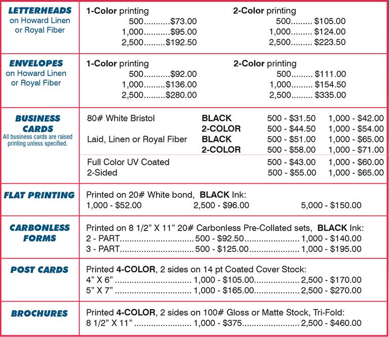 price list template 561