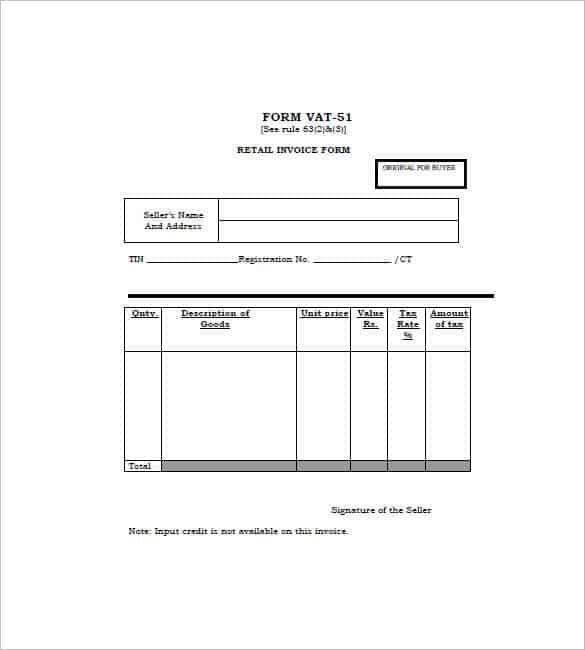 retail invoice format 110