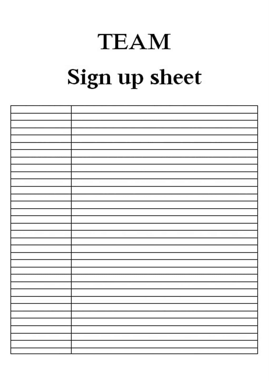 sign up sheet word templates