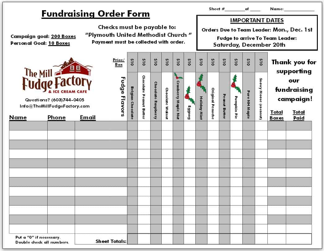 fundraiser order form templates