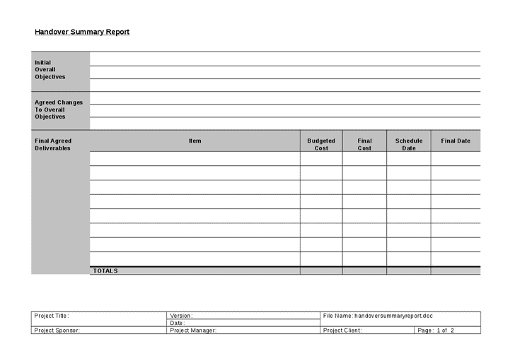 Handover Report Templates - Word Excel PDF Formats