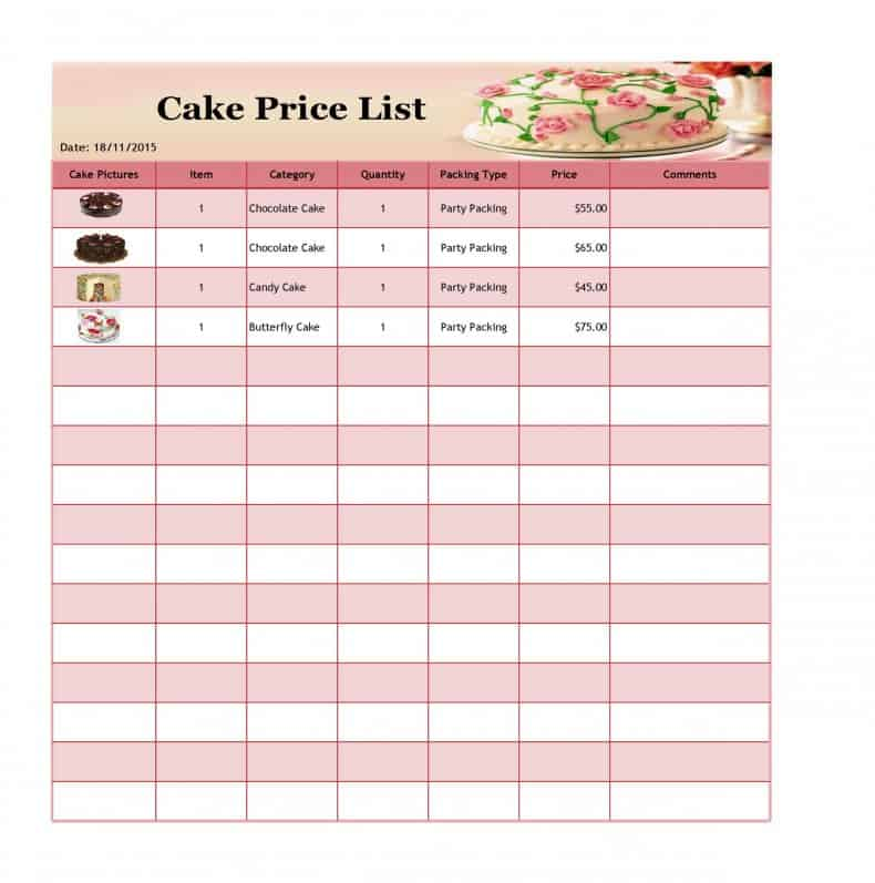 Price List Template Excel from www.templatesfront.com