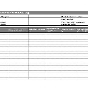 12+ Equipment Maintenance Log Templates - Word Excel PDF ...